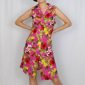 90's tropical linen blend sheath dress